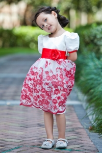 Scoop Knee-length Taffeta Organza Flower Girl Dress