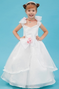 White Square Flower Girl Dress Hand Made Flowers