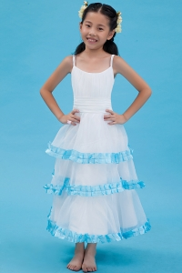 A-line Flower Girl Dress Straps Ankle-length Organza