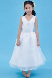 White Flower Girl Dress A-line V-neck Organza Appliques