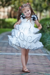 White Flower Girl Dress V-neck Mini-length Taffeta