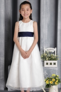 White Flower Girl Dress Column Sheath Scoop Organza