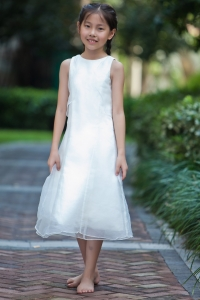 White Column Sheath Flower Girl Dress Scoop Organza
