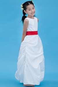 White Scoop Taffeta Belt Flower Girl Dress