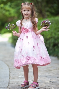 White Pink Flower Girl Dress A-line Scoop Taffeta