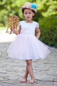 White Pink Flower Girl Dress Scoop Knee-length Taffeta
