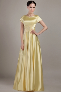 Yellow Mother of the Bride Dress Empire Neck Taffeta