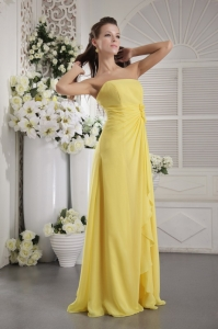 Yellow Empire Bridesmaid Dresses Strapless Chiffon Floral