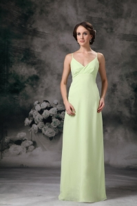 Empire Straps Yellow Green Chiffon Bridesmaid dresses