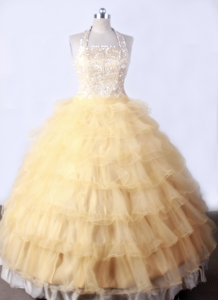 Halter Little Girl Pageant Dresses Ruffled Layers
