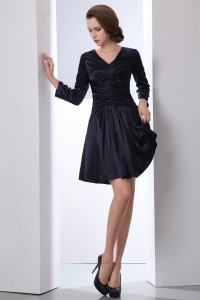 Long Sleeves Short Navy Blue V-neck Mother of Groom Dress Modest