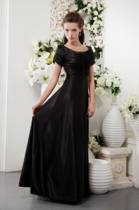 Short Sleeves Black Mother Of The Bride Dress Scoop Column