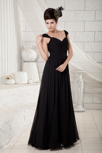 V-neck Straps Bridesmaid dress Black Beading Empire