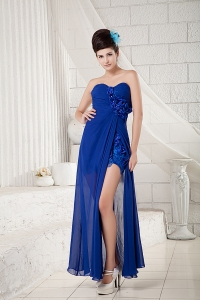 Sweetheart Bridesmaid dress Royal Blue Appliques Slit