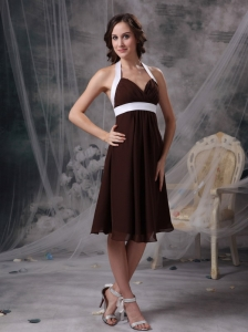 Knee-length Bridesmaid dress Brown and White Chiffon Halter
