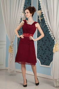 Beaded Bridesmaid Dress Burgundy Chiffon Square Knee-length