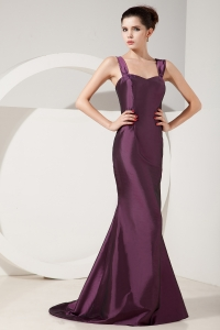 Brush Train Mother Of Bride Dress Dark Purple Straps Mermaid