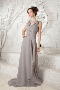 Ruched Bridesmaid dress V-neck Brush Train Gray