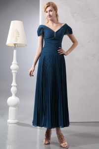 Mothers Dress Navy Blue V-neck Beading Column