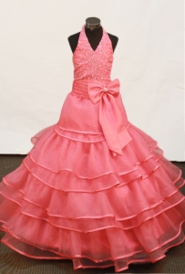 Hater Watermelon Red Pageant Dress Beaded Ruffled Layers