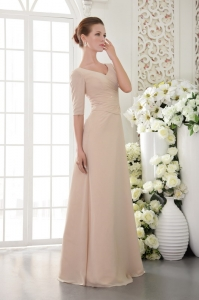 Chiffon Champagne Moms Dress V-neck Beading Half Sleeves