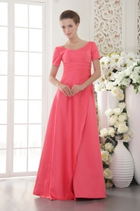 Short Sleeves Coral Red Mother Of The Bride Dress Scoop Beading