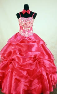 Little Girl Pageant Dress Red Spaghetti Straps Beading Ball Gown