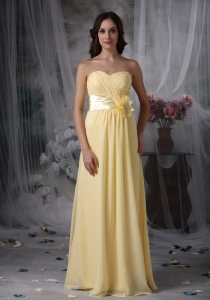 Chiffon Light Yellow Bridesmaid dress Sweetheart Ruched Flower