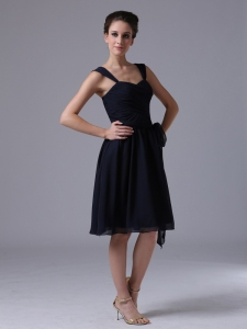 Straps Ruched Bridesmaid dress Navy Blue Knee-length Chiffon