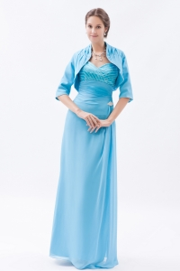 Mother of the Groom Dress Baby Blue Straps Beading Jacket