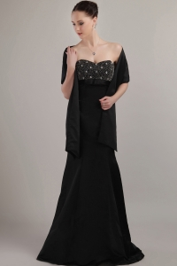 Sweetheart Black Beaded Mother of the Bride Dress Taffeta