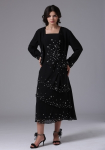 Black Mother Of The Bride Dress Straps and Beading Jacket