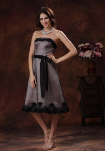 Strapless Bridesmaid dress Black and Brown Tea-length Sash
