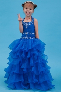 Organza Ruffles Halter Flower Girl Dress Blue A-line Appliques