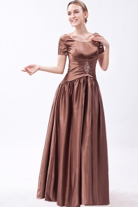 Brown Mother of the Bride Dress Scoop Beading Short Sleeves