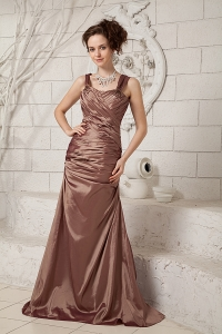 Ruched Dress for Mothers Brown Straps Brush Train Taffeta
