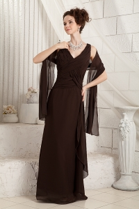 Brown Chiffon Mother Of The Bride Dress Column V-neck Ruched
