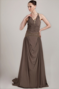 Ruched Mothers Dress Brown V-neck Brush Train Beading
