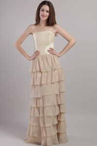 Chiffon and Satin Strapless Moms Groom Dress Champagne Layers