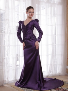 Long Sleeves Dark Purple Mothers Dress V-neck Sweep Train