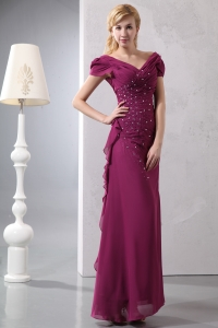 V-neck Chiffon Mother of the Bride Dress Dark Purple Beading