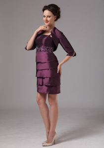 Dark Purple Mini-length Mothers Dress Embroidery With Beading