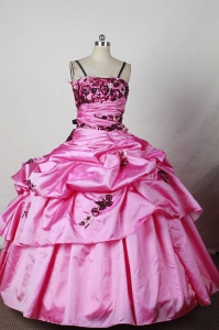 Spaghetti Straps Little Girl Pageant Dress Ball Gown Appliques