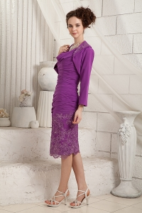 Eggplant Purple Chiffon Mothers Dress V-neck Appliques Jacket