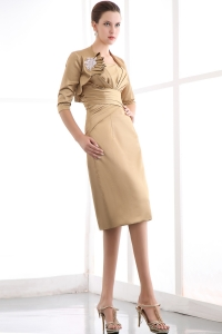 Gold Column Mothers Dress Knee-length Satin Ruched Strapless