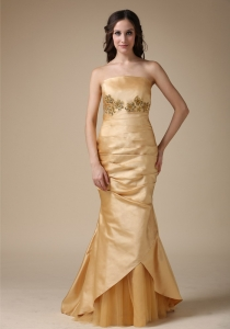Mermaid Dress for Mothers Gold Appliques and Ruch Strapless