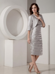 Ruched V-Neck Mother of the Bride Dress Gray with Jacket