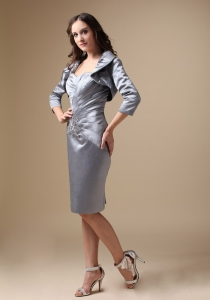 Taffeta Sweetheart Dress for Moms Grey Beading Knee-length