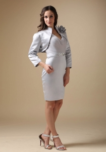 Mother of the Groom Dress V-neck Knee-length Grey Jacket