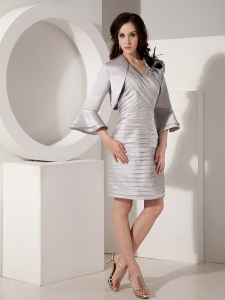 Jacket Pleat Dress for Moms Grey V-neck Mini-length